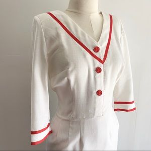 Vintage 1950s nurse dress white and red